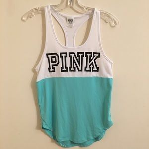 Pink Racerback White and Turquoise Tank